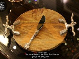 دف جبنة مع سكين من الخشب الهندي مع الألمنيوم