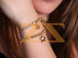 اساور بتعلقة هلال او نجمة من مجوهرات الخياط
